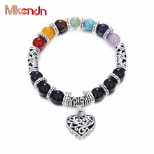Wholesale Men Women 7 Chakra Bracelets Bangles Colors Mixed Healing Crystals Stone Chakra Pray Mala Heart Charm Bracelet Jewelry(China)