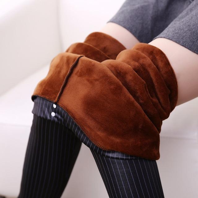 Inverno Quente Calças Lápis Listrado & Capris Moda Feminina PU bolsa de Couro De Espessura De Veludo Stretch Magro Calças Plus Size CP4A Elasitc