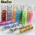 BlueZoo 12 Botellas Nail Art Glitter Hollow Star Corazón Forma de La Flor Decoración de La Etiqueta Engomada Del Arte