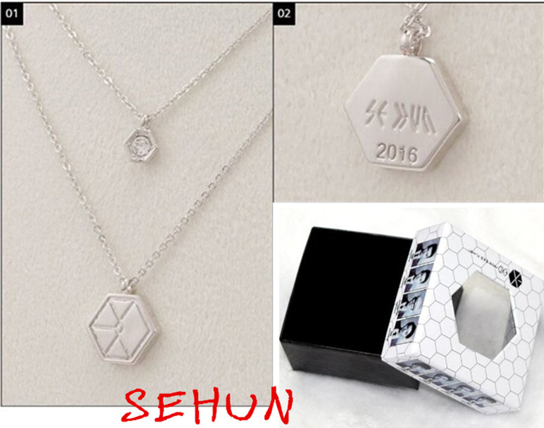 Necklaces and pendants Necklace Exo exo-m exo-k Kpop Baek Hyun Chan Yeol Xiumin Pendant Jewelry Gift Products Poster Xoxo Lay