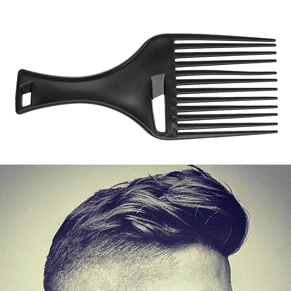 1Pcs Afro Hair Comb Hair Fork Comb Insert Hairdressing Curly Hair Brush Comb Hairbrush Styling Tool for Men & Women Black