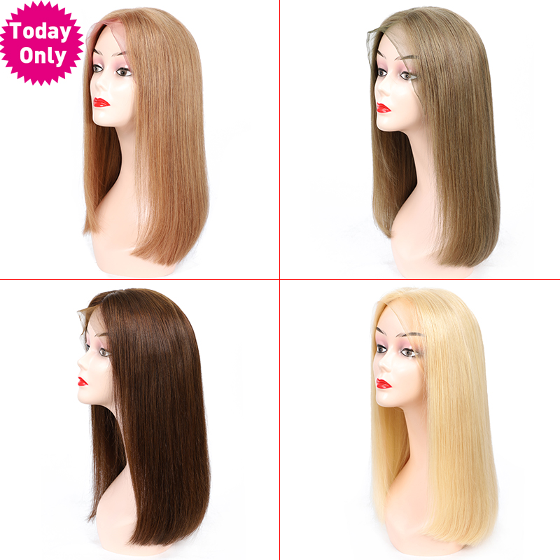 TODAY ONLY Brazilian Straight Lace Front Wig Short Bob Lace Frontal Wig 613 Blonde Lace Front