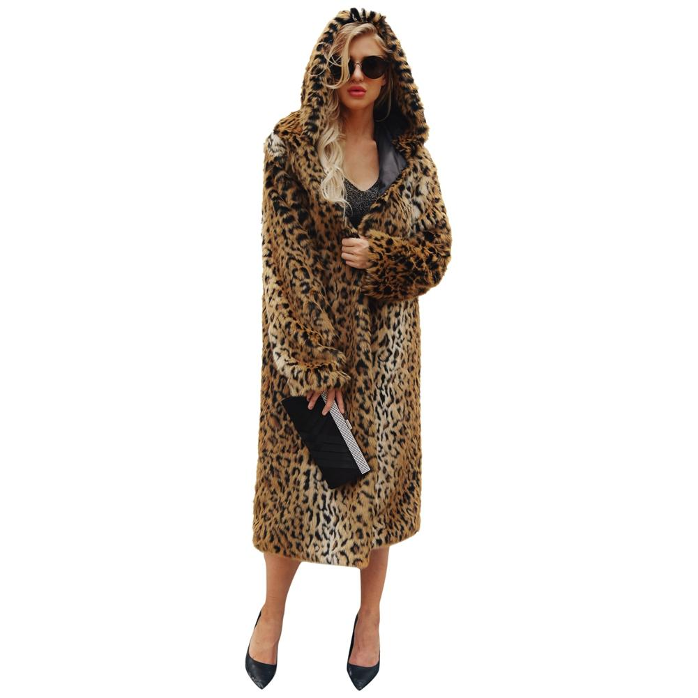 De Manteau Type Leopard Épais Sexy Femmes Manches À Léopard Imprimé Fourrure Chaquetas En Longues Mujer Capuche Long Fausse D'hiver Outwear dS7xwqZHd