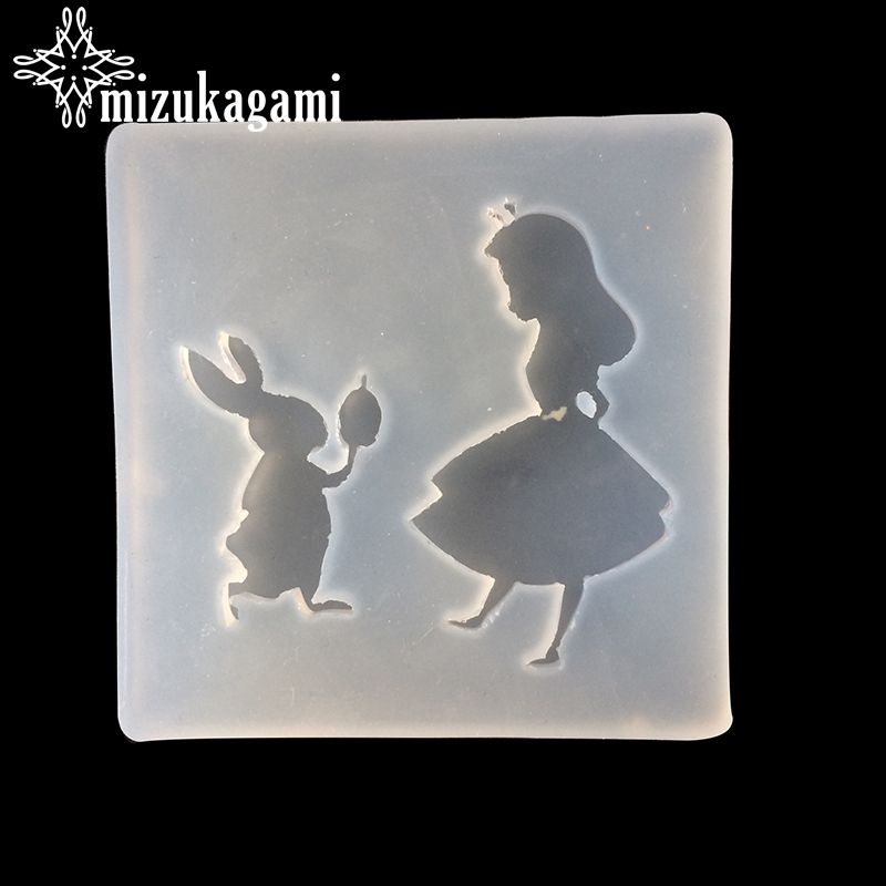 UV Resin Jewelry Liquid Silicone Mold Cartoon Girl Rabbits Shape Resin Molds For DIY Necklace Pendant Charms Toys Making Jewelry