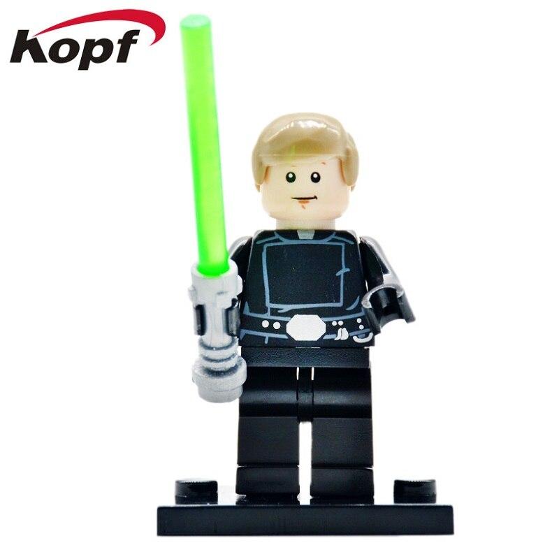50Pcs PG646 Star Wars Luke Skywalker With Transparent Green Lightsaber Bricks Action Figures Building Blocks Toys for children