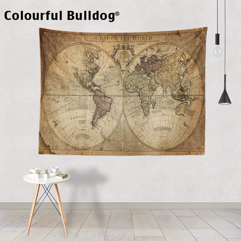 World map tapestry watercolor wall hanging asia europe africa home world map tapestry watercolor wall hanging asia europe africa home decoration accessories blanket large polyester hand painted in tapestry from home gumiabroncs Choice Image