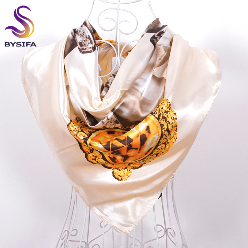 White Pearl Silk Square Muffler Scarves Printed 90*90cm New Accessories Pearl Pattern Scarfs Wraps Blue And Beige White