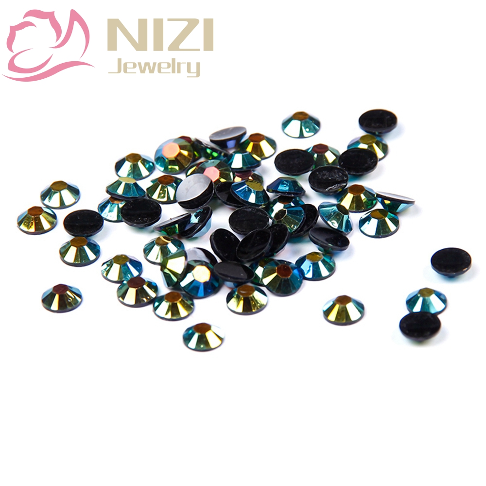 For 3D Nail Art Decorations Glitter Rhinestones 2-6mm Olive Black AB Color 14 Facets Resin Flatback Non Hotfix 2016 New Design super shiny 1440pcs ss8 2 3 2 4mm clear ab glitter non hotfix crystal ab color 3d nail art decorations flatback rhinestones 8ss