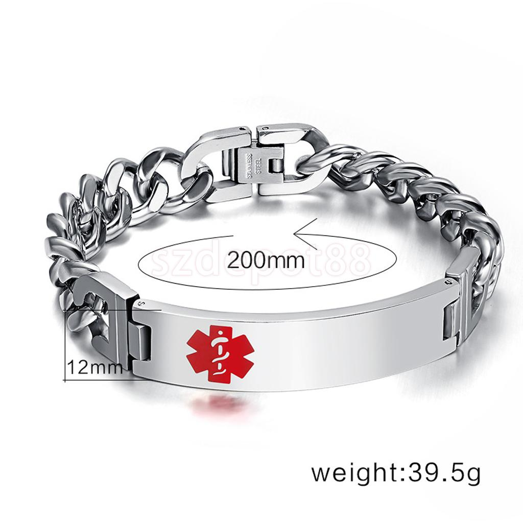Mens Stainless Steel Chain Medical Alert Id Bracelet Bangle One Layer(china  (mainland)