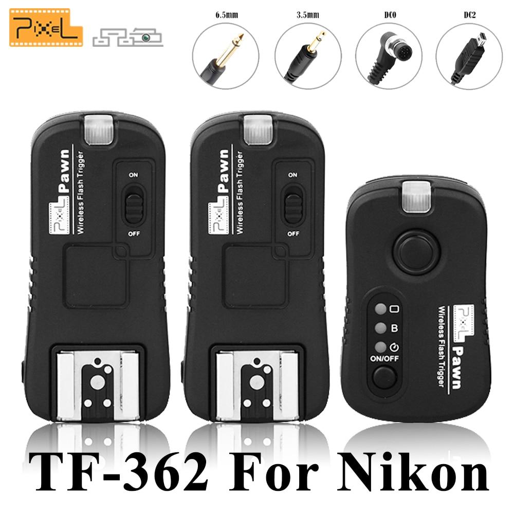 Pixel TF-362 Wireless Remote Control Shutter Release Flash Trigger 1PCS Transmitter 2PCS Receiver For Nikon D810 d3100 d7100 d90 wired remote shutter release for nikon d90 d5000