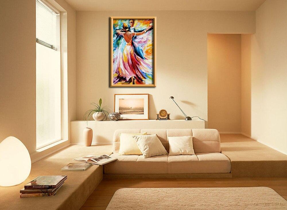 100% hecho a mano de alta calidad Arte de la pared moderno Ballet bailarines paleta cuchillo pintura al óleo en lienzo decoración del hogar cuadros de arte de la pared-in Pintura y caligrafía from Hogar y Mascotas    2
