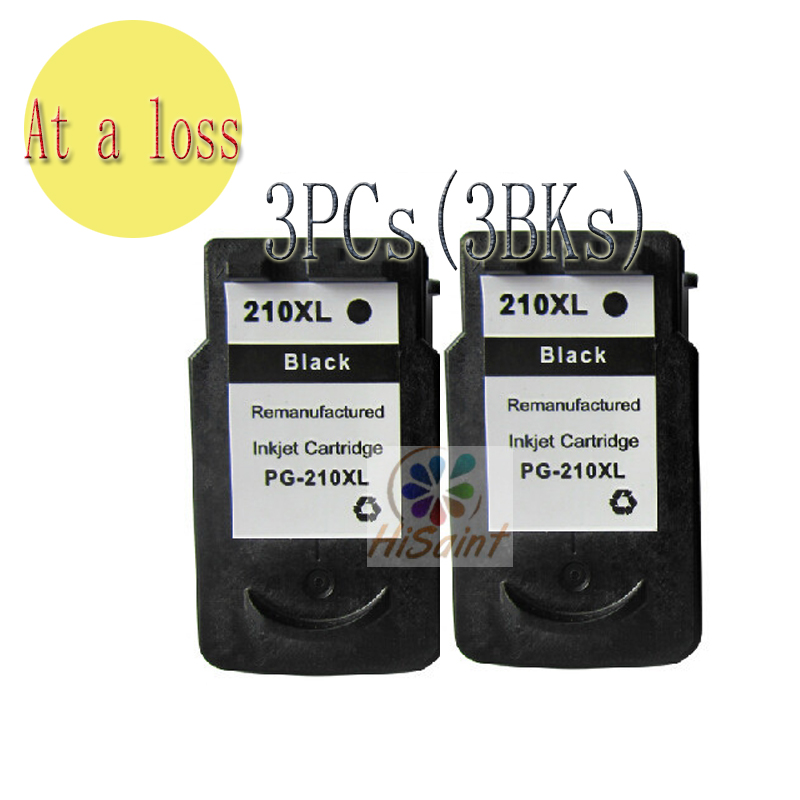 ФОТО The new listing wholesale For CANON Printer Best Link Cartridge3PCs 210 Reman Ink Cartridges PG-210 for iP2702 MP250 MP495 MP360