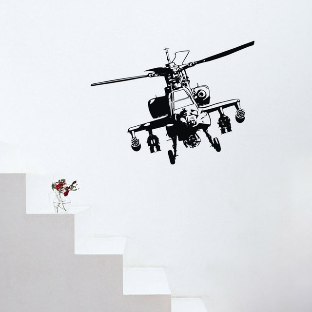 Military Helicopter Wall Stickers Home Decor Living Room Hollow Out ...