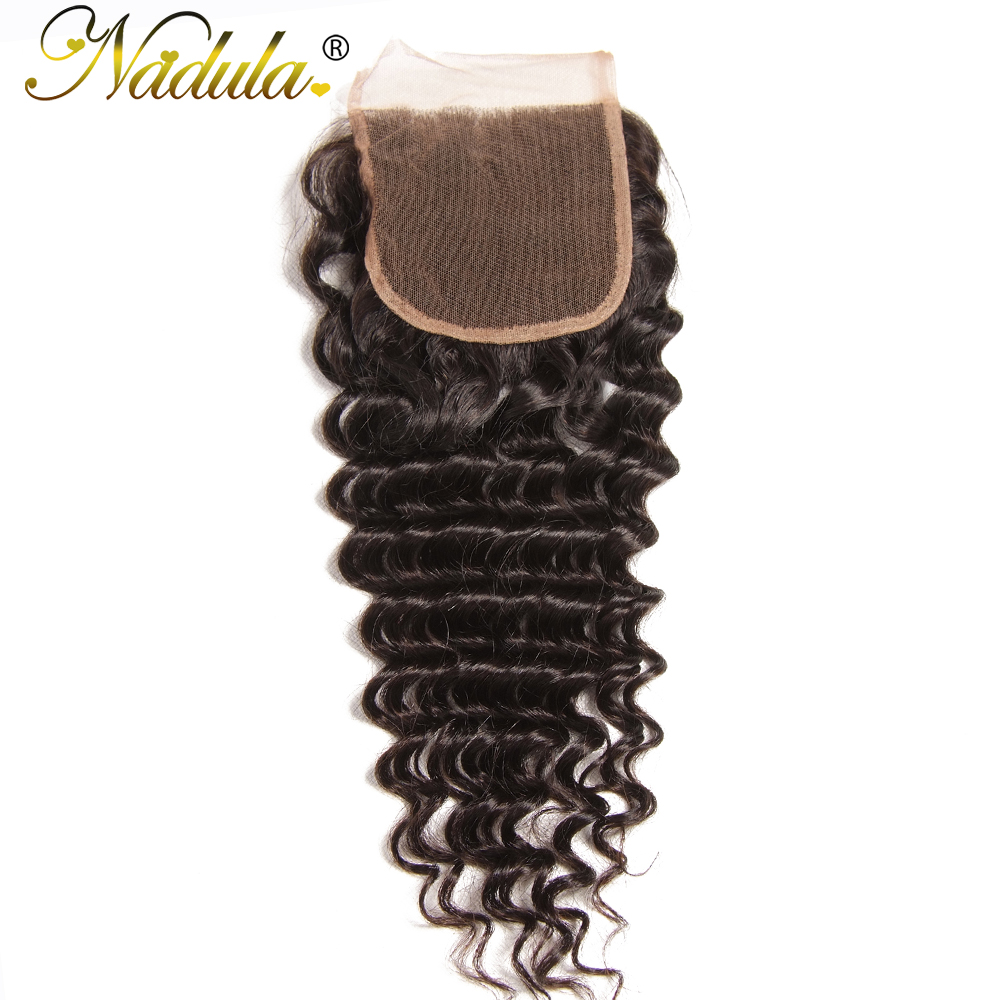 Nadula Hair Brazilian Deep Wave Closure 10 20inch Remy Hair Weaves 4 4 Free Part Swiss