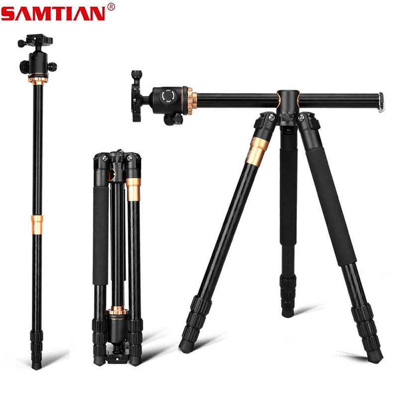 SAMTIAN Professional Portable Camera Tripod 61 inch Portable Travel Trip System Horizontal Tripod for Canon Nikon Sony DSLR SLR-in Tripods from Consumer Electronics