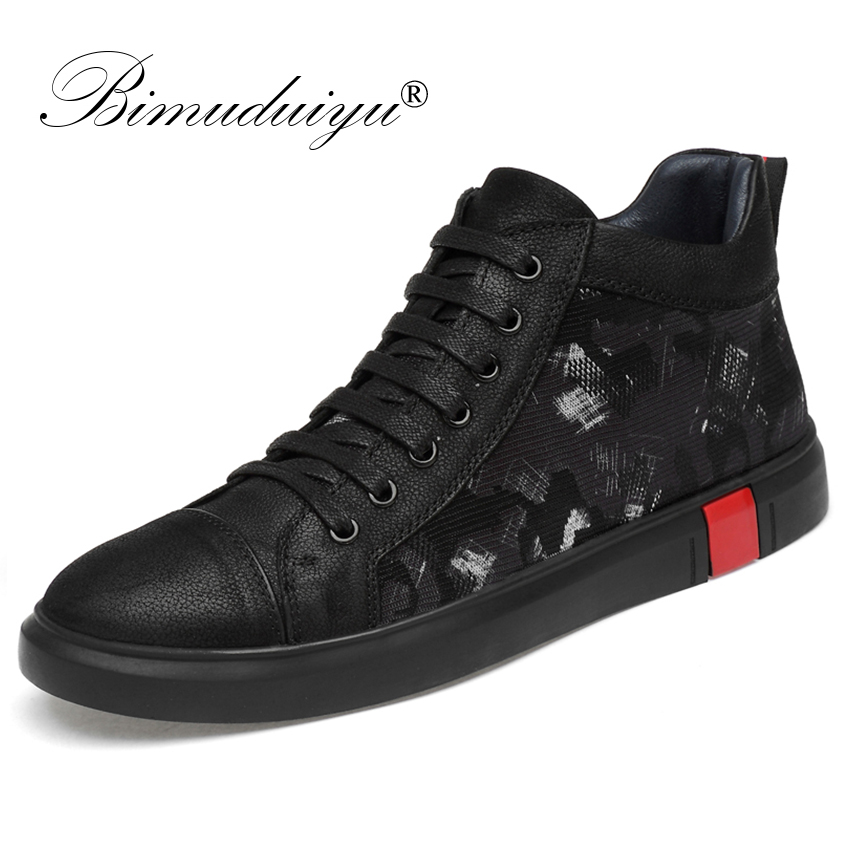 BIMUDUIYU Autumn Winter Handmade Genuine leather Men Casual Sneakers Warm Fur High Top Winter Shoes Fashion Ankle Boots For Men merkmak genuine leather men waterproof shoes men casual sneakers fashion ankle boots for men high top winter men shoes size 47