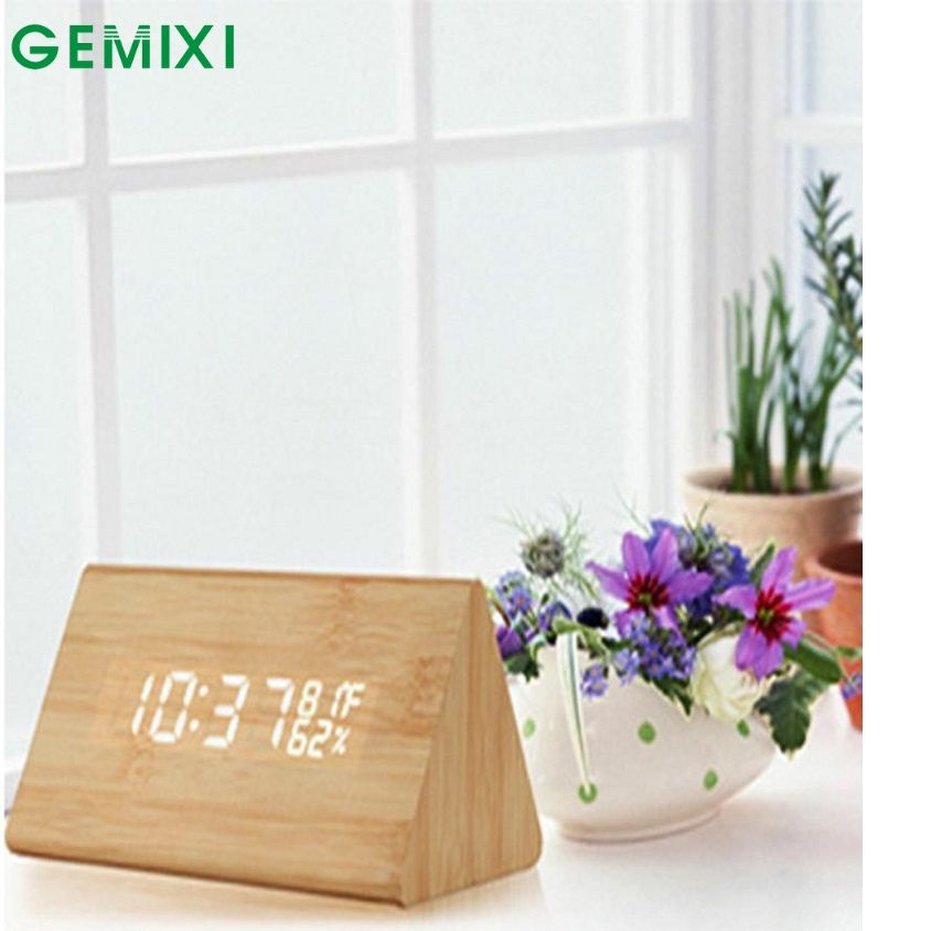 FB 24 Mosunx Business Hot Selling Fast Shipping Classical Triangular Blue Digital LED Wood Wooden Desk Alarm Thermometer Clock C