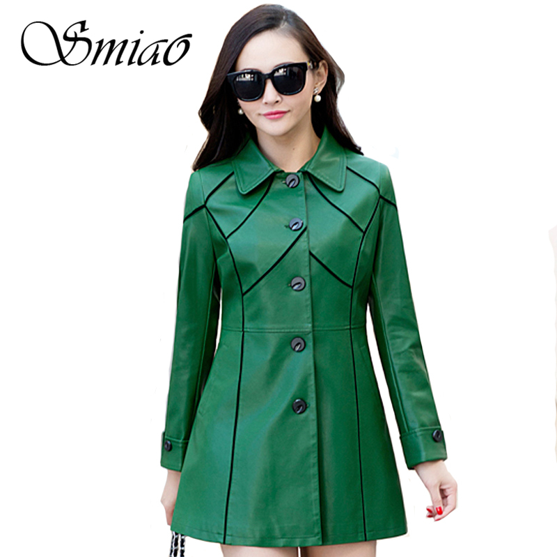 Smiao 2018 Long Soft Winter Jacket Women Plus Size Leather Jacket Patchwork Autumn Faux Leather Coat Female Windbreaker L-5XL