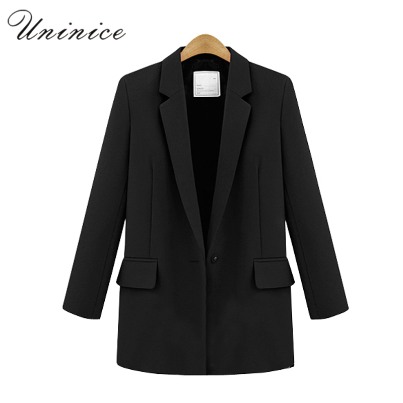 2017 Blazer Women Jacket Red White Black Women Blazer Slim Coat Casual One Button Outerwear Blazer