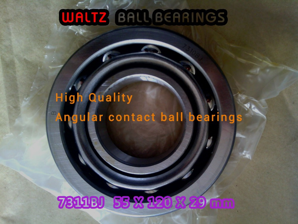55mm Angular Contact Ball Bearings 7311BJ 55x120x29 mm P6 7311 Steel Cage 40 Contact Angle For Paired Mounting Made in China 1pcs 71822 71822cd p4 7822 110x140x16 mochu thin walled miniature angular contact bearings speed spindle bearings cnc abec 7