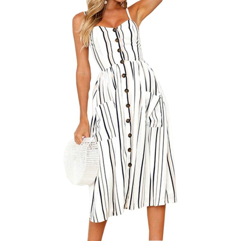 Summer Beach Women Dress Boho 2018 Girls Striped Dresses Sexy Spaghetti Strap Midi Sundress Fashion Party Buttons Pockets GV914