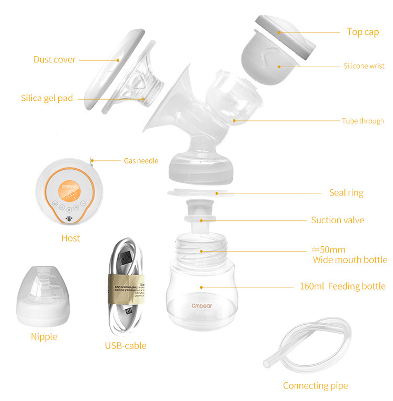 USB Rechargeable Electric Breast Pump with Large and Powerful Suction and Automatic Massager 12