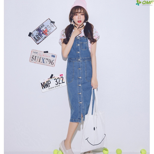 3d770fc748b1 Pockets Strap Denim Dress Loose Casual Jeans Dress Fresh Elegant Midi  Vestidos Single Brest Ladies Spaghetti