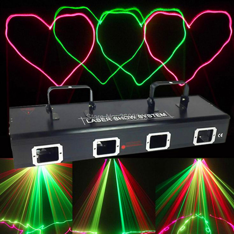 4 Lens RG Color Stage Laser Light for Disco DJ Party NightClub Pub KTV Professional show lighting DMX laser lights led Projector lightme professional stage dj dmx stage light 192 channels dmx512 controller console dj light for disco ktv home party night