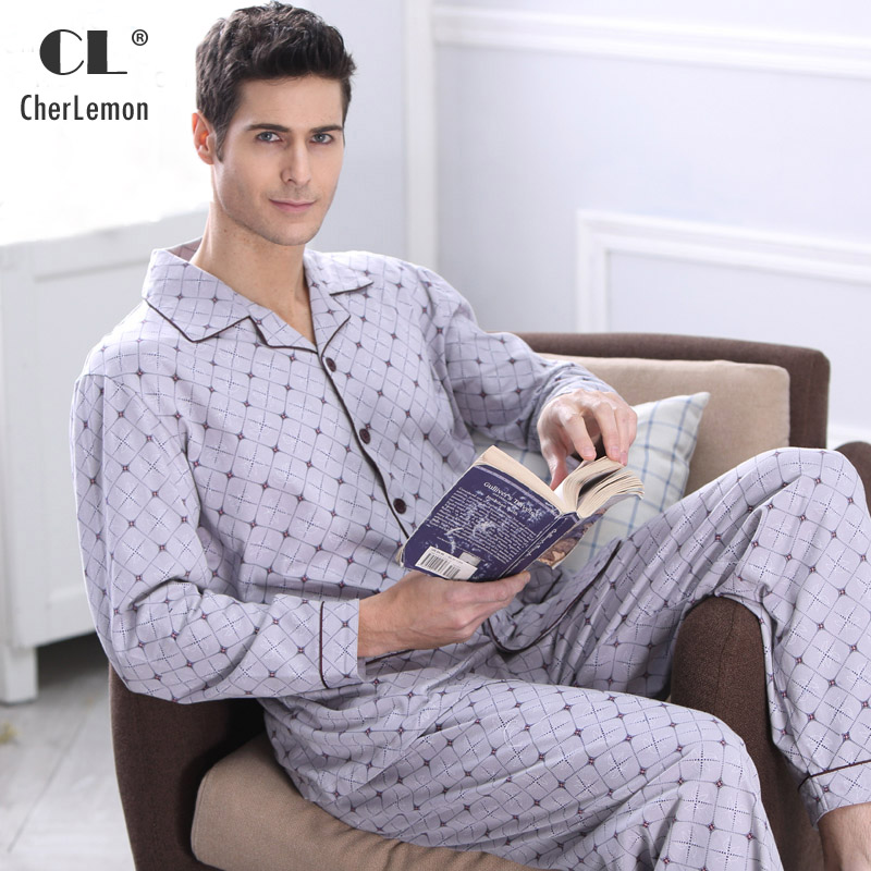 CherLemon Men's Pajamas Autumn Long Sleeve Cotton Pyjamas Sleepwear Male Plaid Lounge Pajama Sets Plus Size Nightwear 4XL