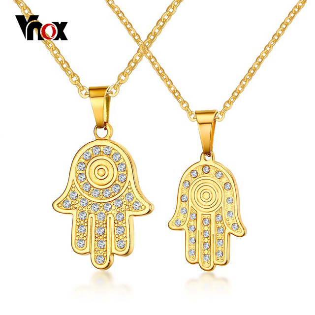 Vnox Unique Hamsa Hand Pendant Necklace Palm Shaped Rhinestones Necklace Gift Jewelry Accessories Women Men Gold-Color 20 inch