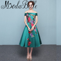 2017 Korean Style Green Junior Prom Dresses Short Galajurken Kort Red Embroidery Applique Formal Gowns Real