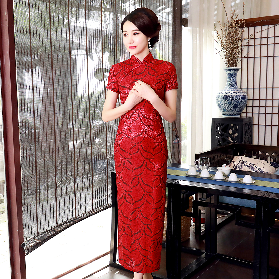 Sexy Oversize 3XL 4XL Women Chinese Style Cheongsam Vintage Print Flower Lady Qipao Lace Vestidso Chinese Bride Wedding Dress