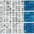 1 Лист 6.2 см Площади Нержавеющей Стали Штамповка Nail Art Плиты Изображения Польский Маникюр Инструмент Трафарет (X01-X24 Для Выбирают)