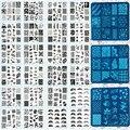 1 Hoja de 6.2 cm Cuadrado de Acero Inoxidable Polaco Manicura Stamping Nail Art Placa de La Imagen Plantilla Herramienta (X01-X24 Para Elegir)