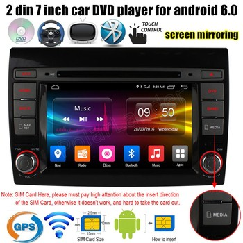 """7"""" inch 2 din Android 6.0 Car DVD Player GPS for Fiat Bravo 2007-2012 4G SIM LTE Quad Core radio stereo wifi AM FM RDS"""