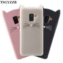 A8 2018 Case 3D Cute Beard Cat Ears Cases For Samsung Galaxy A5 A 8 5 Coque Silicon Soft TPU Glitter Back Cover A530F