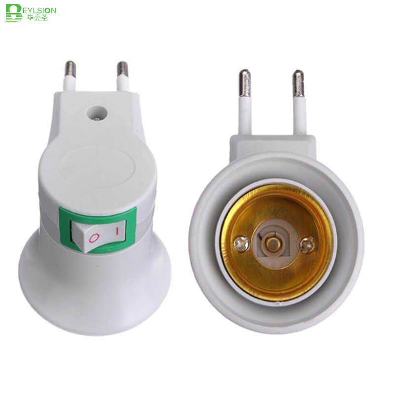LED Adapter Converter E27 LED Light Bulb Lamp Base male Socket to EU Type Plug with ON/OFF Button Holder For rechargeable bulb