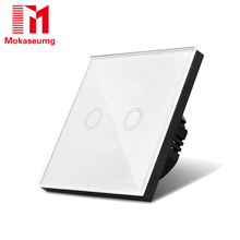 цена на Mokaseumg Touch Switch EU Wall Light Switch Crystal Glass Plate Switch 2 Gang 1 Way Home Wall light touch switch AC170-240V