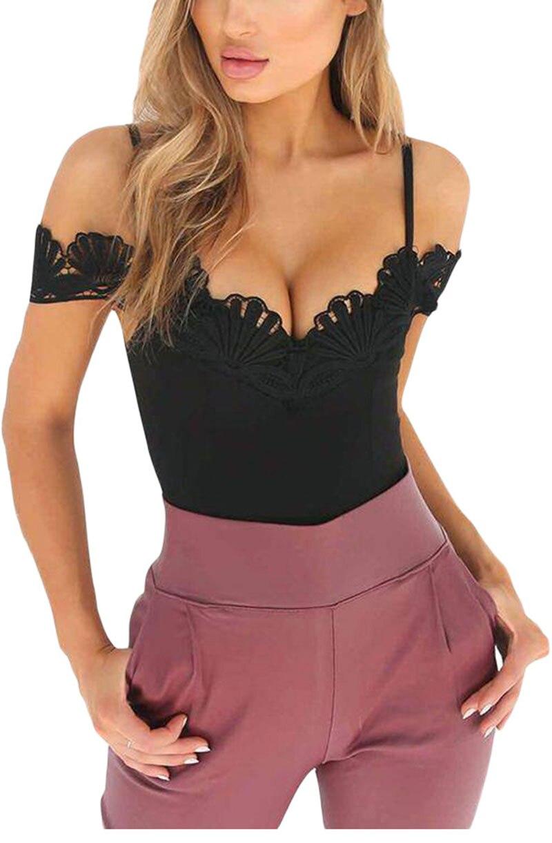 Black-Crochet-V-Neckline-Off-shoulder-Bodysuit-LC32207-2-2