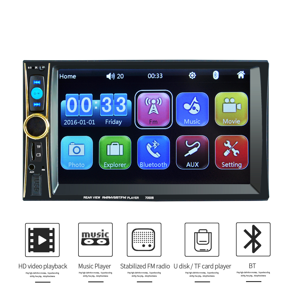 2 Din Car multimedia Video Player Touch Screen Bluetooth Stereo Radio FM MP3 MP4 MP5 Audio Music USB TF Auto Electronics 12v stereo 1 din car multimedia player fm radio mp3 mp4 player 3 6 inch touch screen bluetooth hands free calls sd usb charger