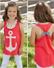 Oklady Fashion Baby Girl Kid Anchor Print Tank Topsshirt Sleeveless Loose Blouse Vest shirt Four-12T