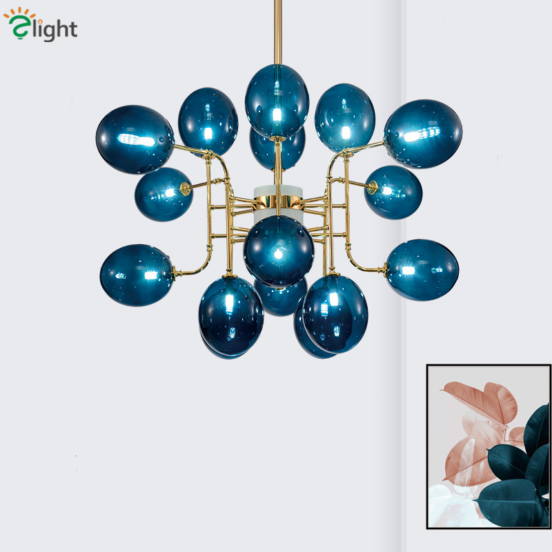 Post Modern Living Room Luxury Lustre Led G9 Chandelier Blue Glass / Frosted / Crystal Shades Led Pendant Chandelier Fixtures caged onion post verdi gris with galley 3 candelabra sockets frosted glass