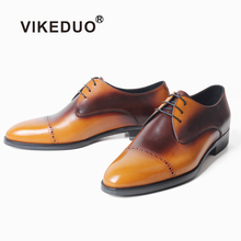 VIKEDUO Mens Derby Shoes Cow Leather Mans Footwear Patina Wedding Office Formal Men Round Toe Dress Zapatos