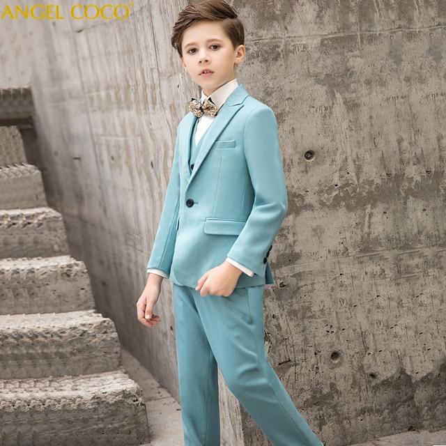 0f9d643a3 Designer 2018 New 5PCS Kids Wedding Blazer Suit Brand Flower Boys Formal  Tuxedos School Suit Kids