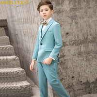 Designer 2018 New 5PCS Kids Wedding Blazer Suit Brand Flower Boys Formal Tuxedos School Suit Kids Spring Clothing Set Menino