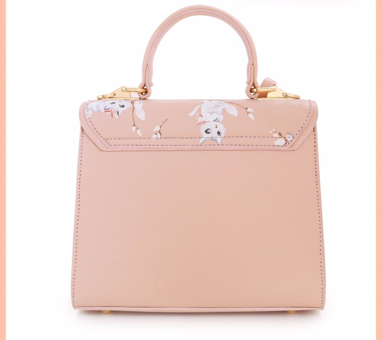 x14 New Sale Bolsas Mujer Small Peekaboo Saddle Faux Leather PU Pink Cat Floral Women\'s Handbags For Lady  Messenger Bags Totes