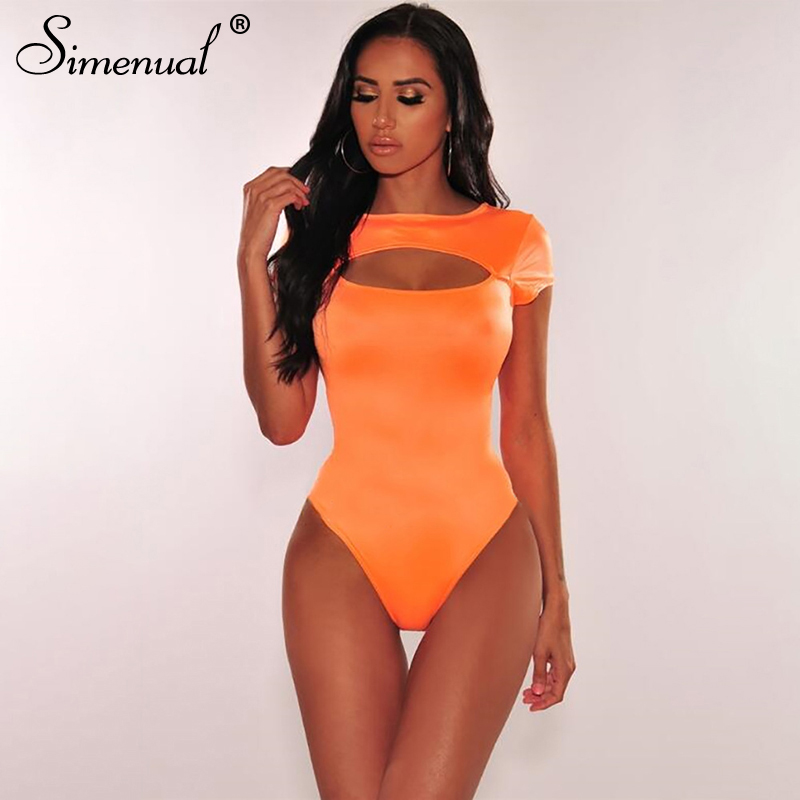 Simenual Orange Cut Out Sexy Rompers Women   Jumpsuit   Solid Casual Short Sleeve Bodysuits Bodycon Basic Hot Summer Bodysuit 2019