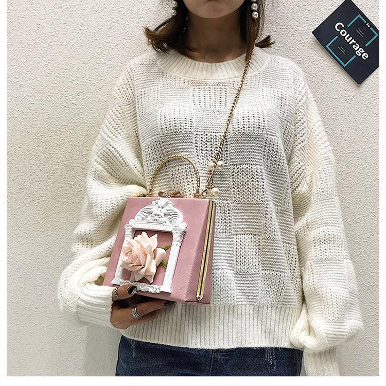 2018 NEW Rose 3D Palace Sculpture Frame Bag Luxury Handbags Women Party Bags Designer Lady Cute Shoulder Messenger Bag Sac Tote 10