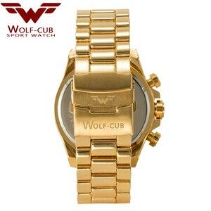 Image 5 - Оригинальные мужские часы с золотым календарем, украшенные большим циферблатом, 6 контактная спиральная Корона, спортивные часы США, мужские часы с волком кубом