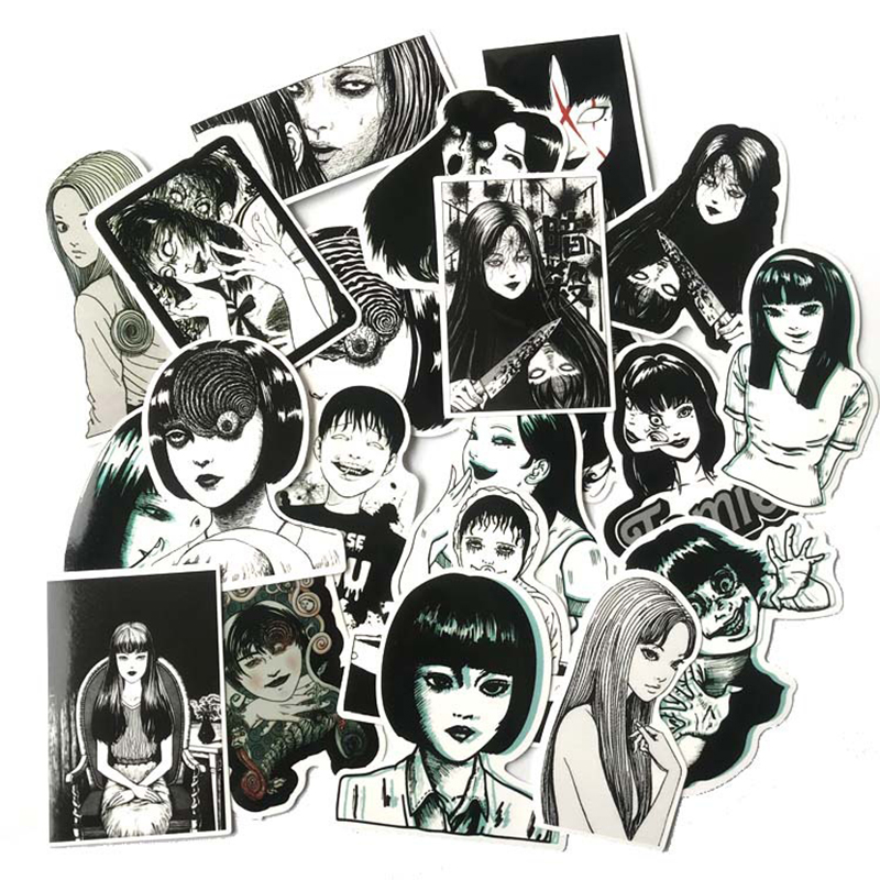 21pcs Another Face Tomie Revenge Sticker Decal Black And White For Car Laptop Bicycle Motorcycle Notebook Waterproof Stickers F5
